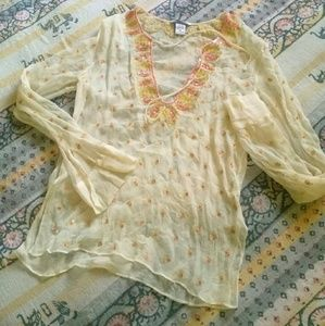 Abercrombie // silk Indian style blouse